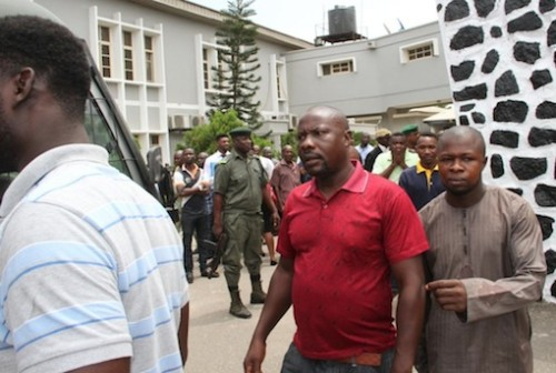 Some of the jailed oil thieves at the Federal High Court in Ikoyi, Lagos