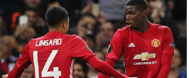 Pogba's second was marked by a co-ordinated dance routine with Jesse Lingard