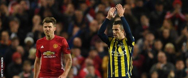 Van Persie acknowledged the United fans in the wake of his goal