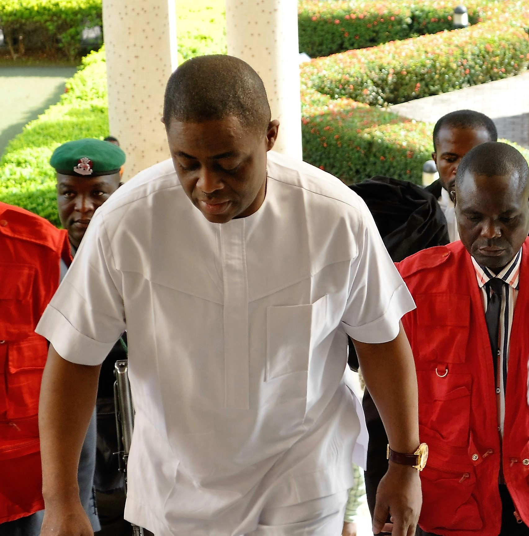 Fani-Kayode arriving the court escorted by EFCC operatives