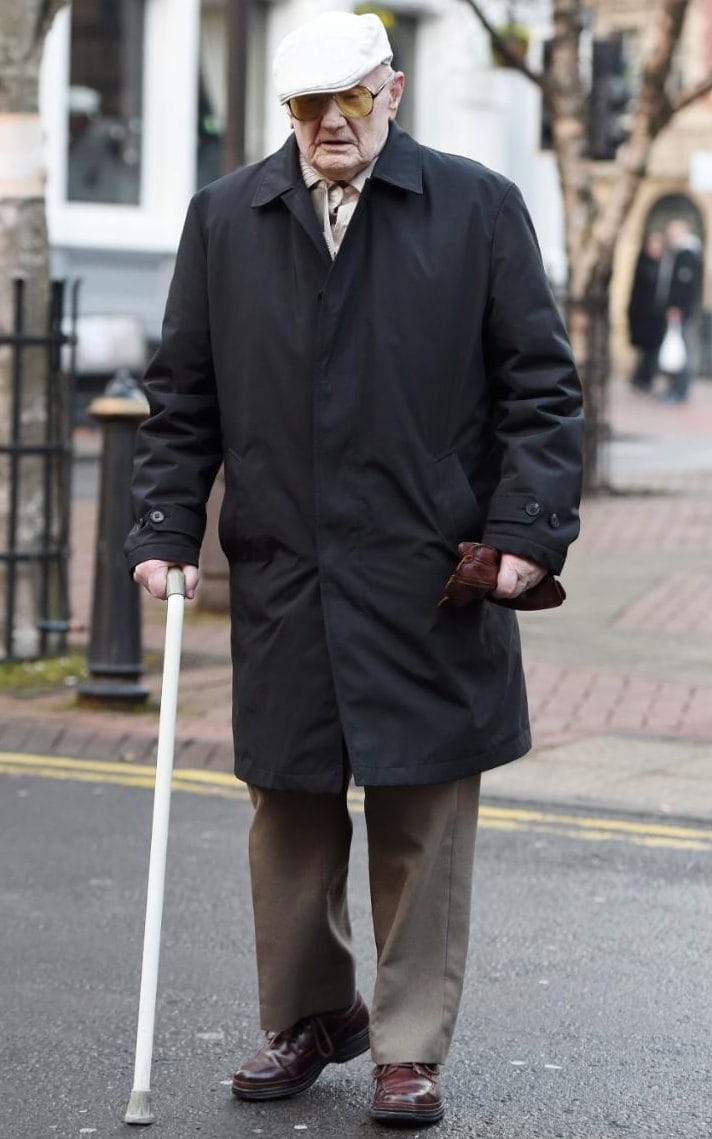 Retired lorry driver Ralph Clarke, aged 101, arriving at Birmingham Crown Court CREDIT:  JOE GIDDENS/PA